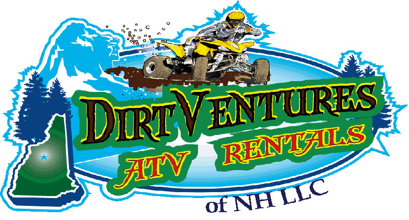DirtVentures ATV Rentals of NH LLC logo - a rider on a yellow atv, riding around the old man of the mountain and the state of NH image